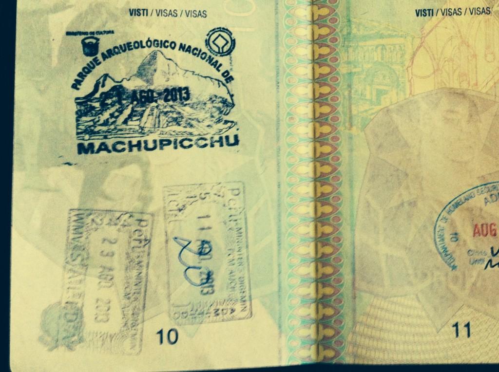 Il timbro del Machu Picchu sul passaporto
