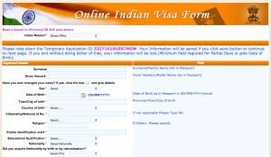 La prima schermata per la richiesta del visto