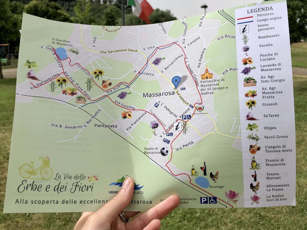 la via delle erbe e dei fiori, mappa di massarosa